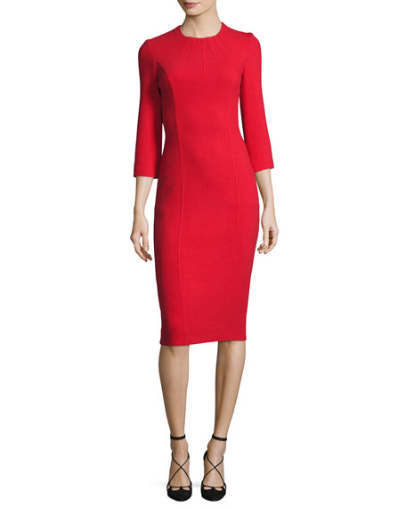 Michael Kors Collection Boucle Crepe 3/4-Sleeve Sheath Dress,