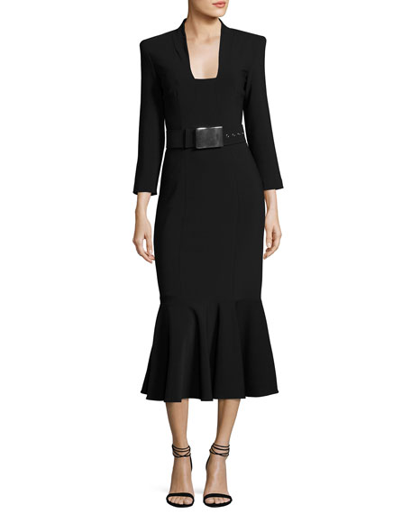 Michael Kors Collection Pebbled Crepe Belted Sheath Dress,