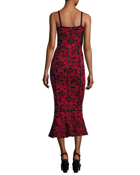 Floral Jacquard Sleeveless Trumpet Dress, Red/Black