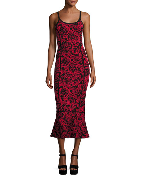 Michael Kors Collection Floral Jacquard Sleeveless Trumpet Dress,
