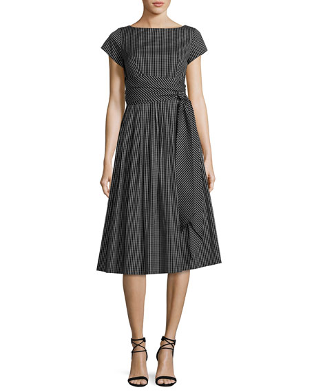 Michael Kors Collection Windowpane Check Poplin Belted Midi