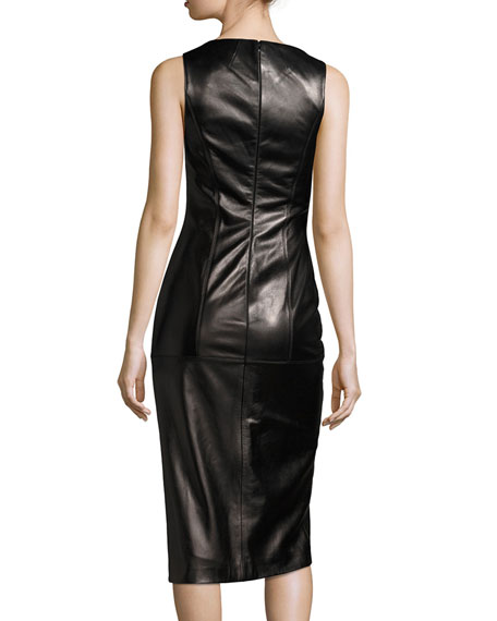 Lamb Leather Sleeveless Zip-Front Sheath Dress