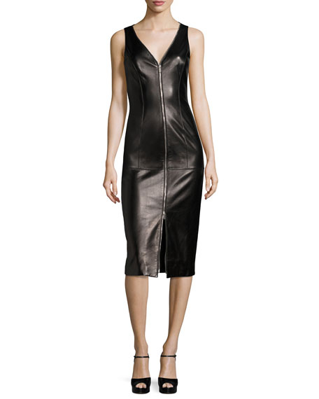 Michael Kors Collection Lamb Leather Sleeveless Zip-Front Sheath