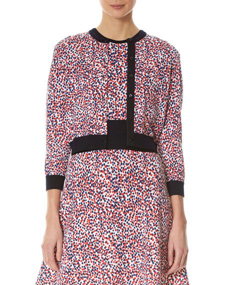 Carolina Herrera Polka-Dot 3/4-Sleeve Cardigan, Multicolor