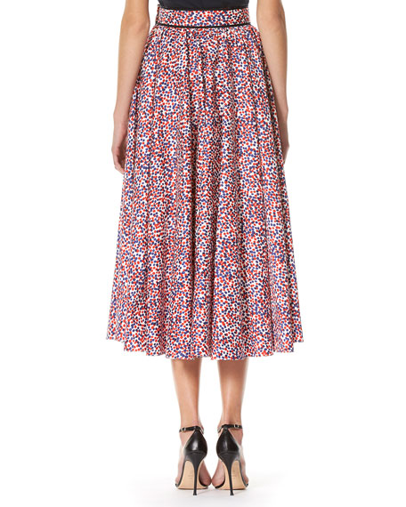 Polka-Dot A-line Midi Skirt, Multicolor