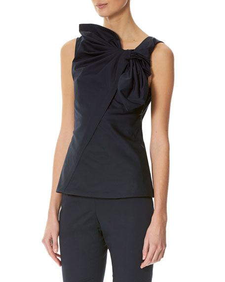 Sleeveless Tie-Front Top, Navy