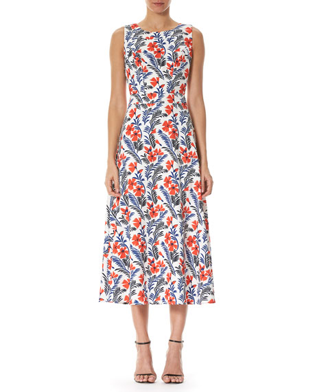 Poppy Sleeveless Silk Midi Dress, White