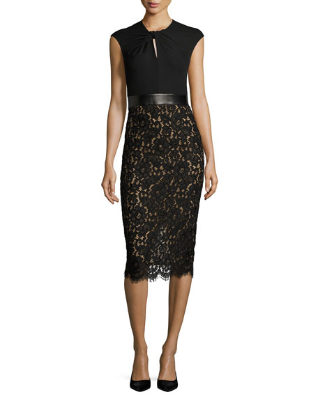Michael Kors Collection Lace & Jersey Cocktail Sheath