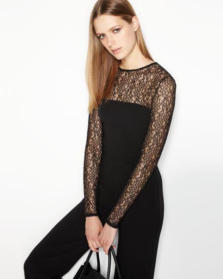 Long-Sleeve Lace-Inset Jumpsuit, Black