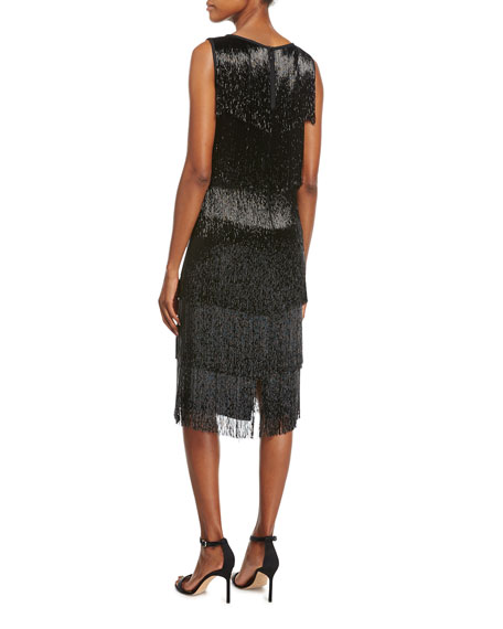 Beaded-Fringe Sleeveless Cocktail Dress, Black