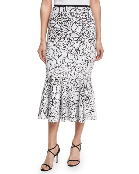 Rose Paillettes Trumpet Skirt, Black/White