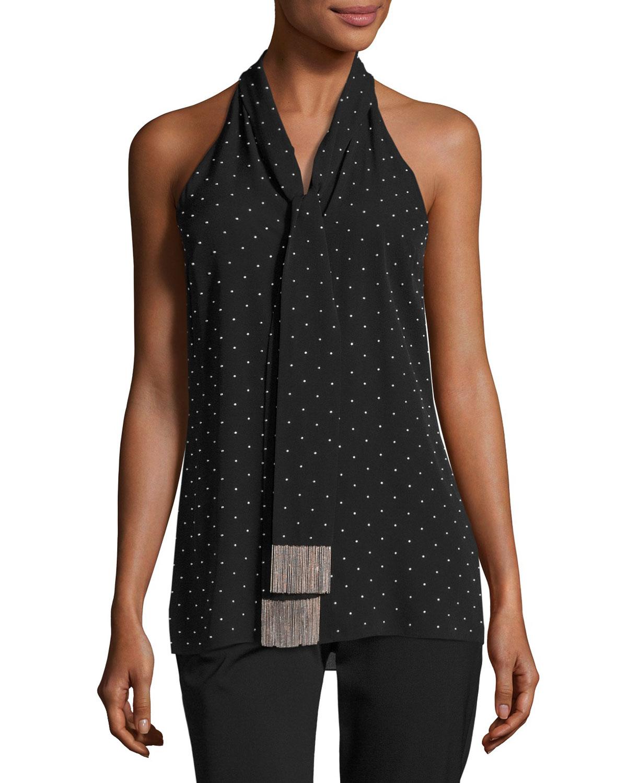 65833d3eaf374 Michael Kors Collection Beaded Silk Sleeveless Tie-Neck Top