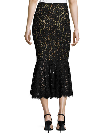 Floral Lace Trumpet Midi Skirt, Black