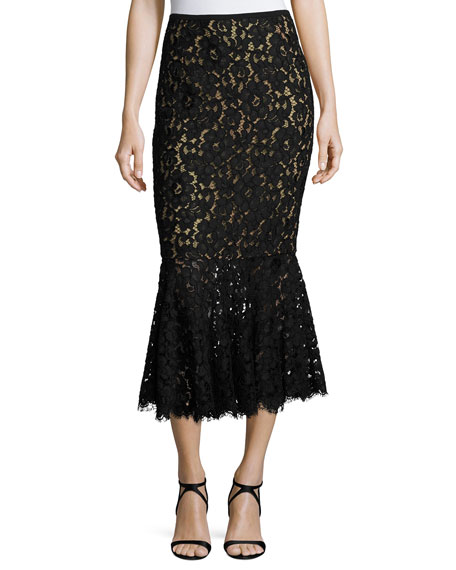 Michael Kors Collection Floral Lace Trumpet Midi Skirt,