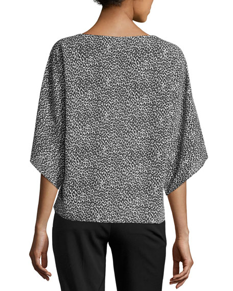 Leopard-Print Silk Boat-Neck Top, Black/White