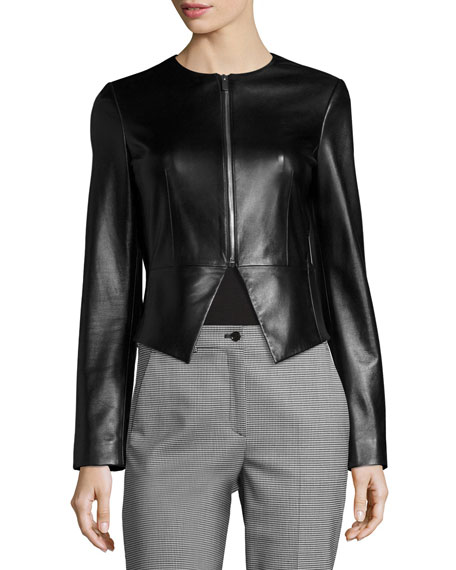 Modern Leather Peplum Jacket, Black