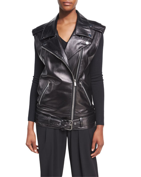 Long Lamb Leather Biker Vest, Black
