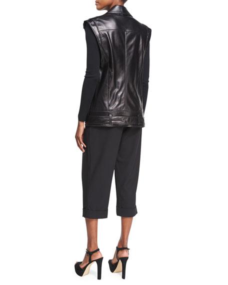 Long Lamb Leather Biker Vest, Black