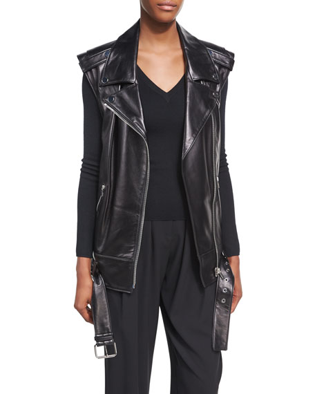 Michael Kors Collection Long Lamb Leather Biker Vest,