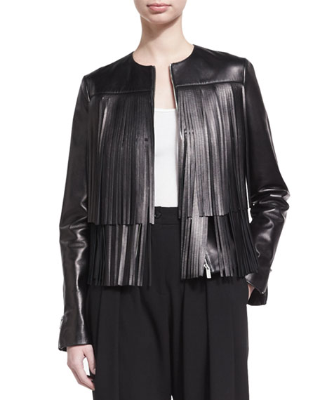 Fringed Leather Jacket, Black