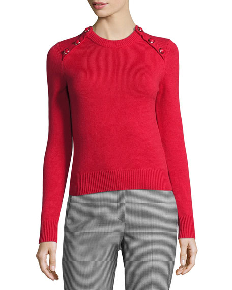 Michael Kors Collection Button-Detail Cashmere Crewneck Sweater