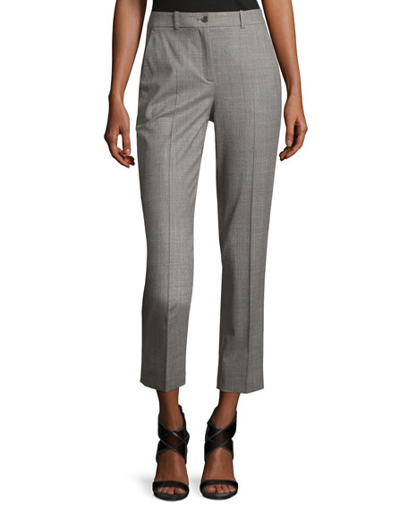 Michael Kors Collection Sam Cropped Stretch-Wool Pants, Gray