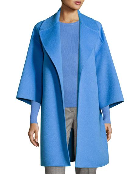 Wool Melton Car Coat, Blue