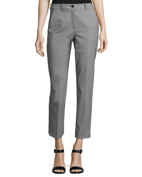 Michael Kors Collection Samantha Mini-Houndstooth Cropped Pants,