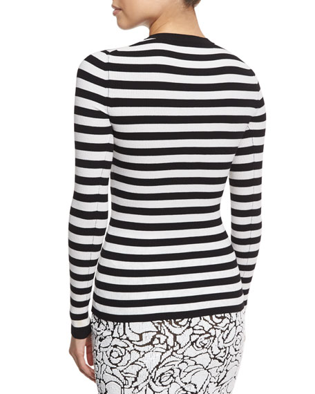 Striped Crewneck Sweater, White/Black