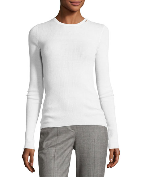 Featherweight Ribbed Cashmere Sweater, White