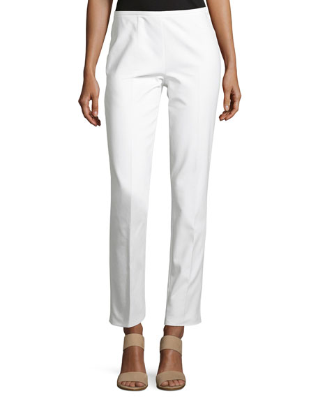Broadcloth Straight-Leg Pants, White