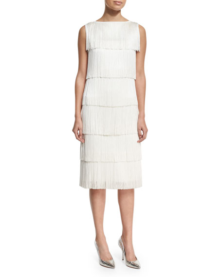 Michael Kors Collection Tiered Fringe Flapper White, White