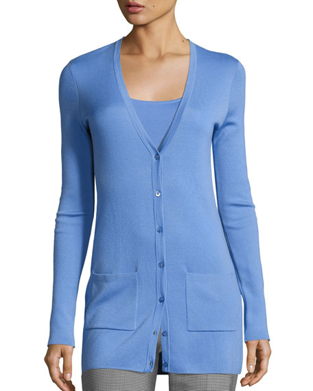 Long Cashmere V-Neck Cardigan, Blue