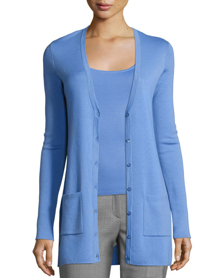 Michael Kors Collection Long Cashmere V-Neck Cardigan, Blue