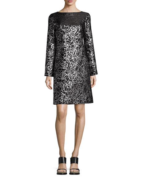 Metallic Floral Jacquard Long-Sleeve Shift Dress, Black