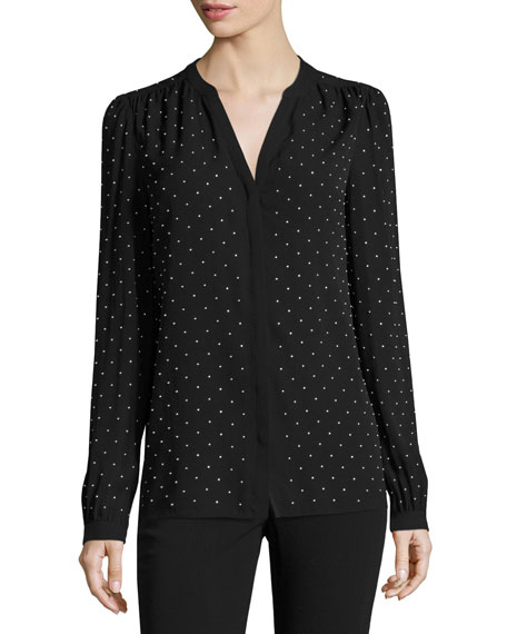 Studded Georgette Split-Neck Blouse, Black/Silver