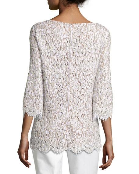 Embellished Lace 3/4-Sleeve Tunic Top, White