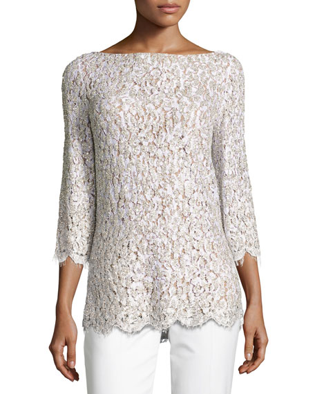 Michael Kors Collection Embellished Lace 3/4-Sleeve Tunic Top,