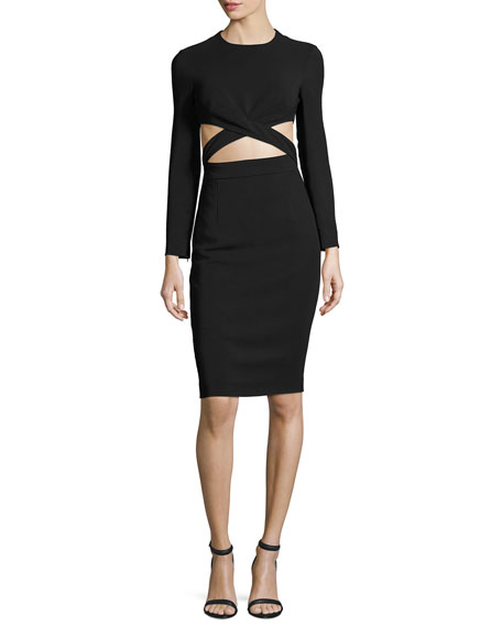 Michael Kors Collection Cutout-Midriff Long-Sleeve Cocktail