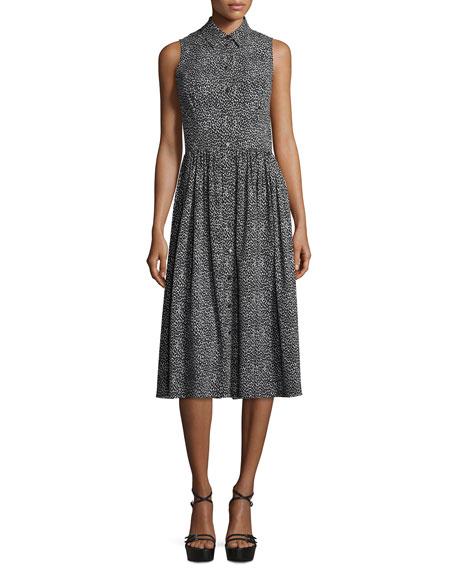 Michael Kors Collection Leopard-Print Sleeveless Silk Shirtdress,