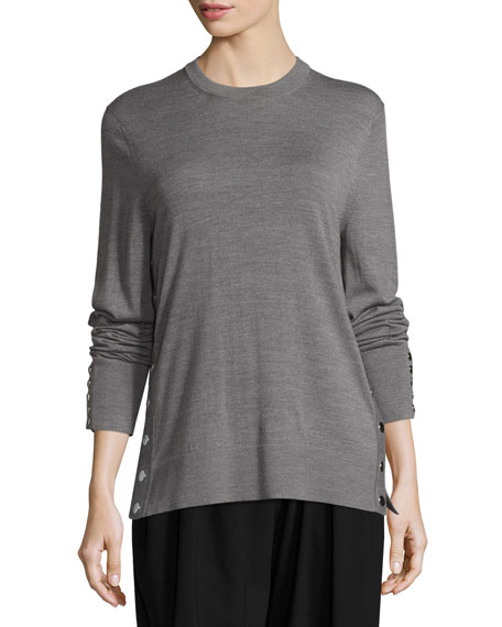 Michael Kors Collection Merino Wool Side-Snap Sweater, Gray