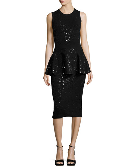 Michael Kors Collection Embellished Sleeveless Peplum Dress,