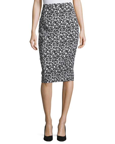 Michael Kors Collection Floral Jacquard Pencil Skirt