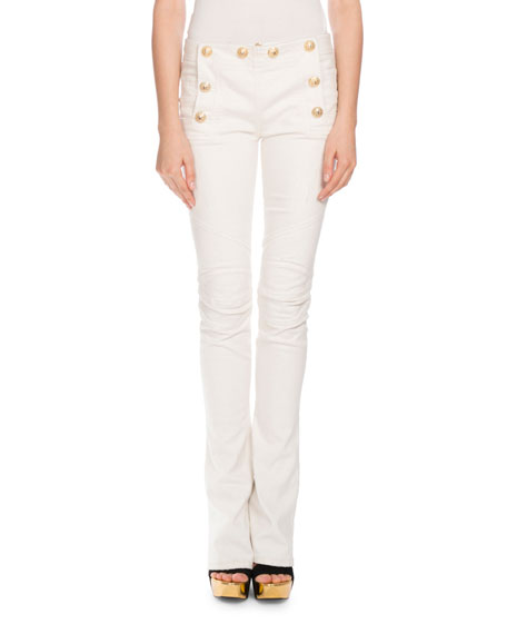 Sailor-Button Boot-Cut Jeans, White