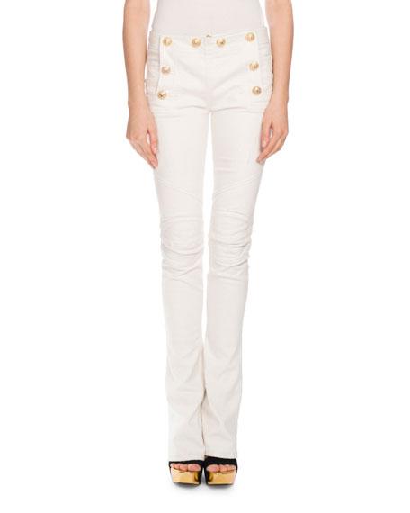 Balmain Sailor-Button Boot-Cut Jeans, White