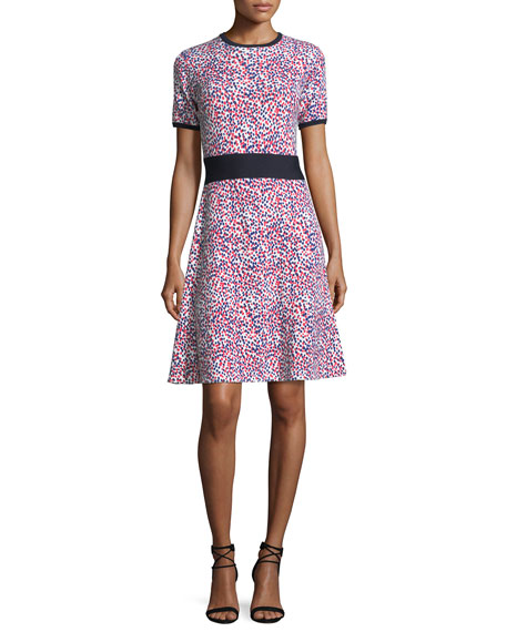 Carolina Herrera Short-Sleeve Polka Dot Knit Dress