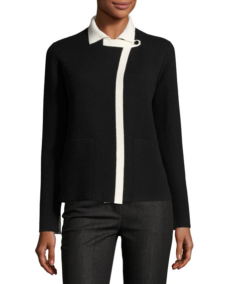 Akris Reversible Cashmere Cardigan, Black/White
