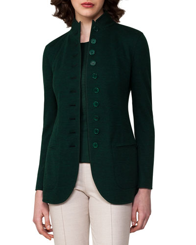 Cashmere Jersey Button-Front Jacket, Forest