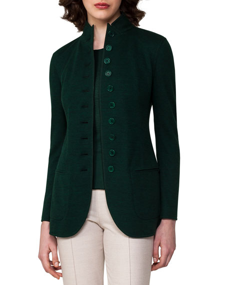 Akris Cashmere Jersey Button-Front Jacket, Forest