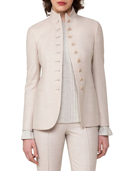 Button-Front Notch-Collar Jacket, Gray